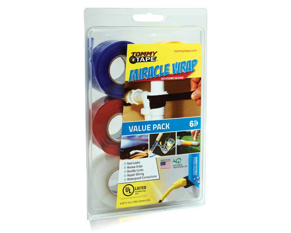 Miracle Wrap Self-Fusing Silicone Repair Tape Tommy Tape Pack of 5